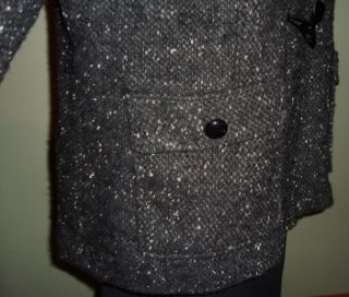 American Rag Black White Salt Pepper Wool Blend Toggle Hooded Jacket