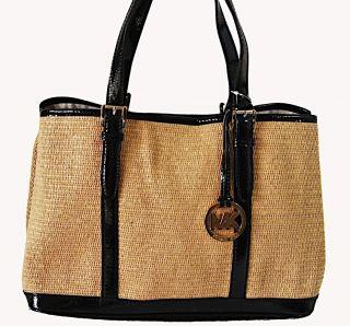 Michael Kors Amagansett Large Straw Tote Shoulder Bag Handbag Black