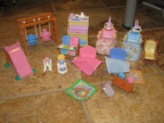 Huge Lot Fisher Price Loving Family Dollhouse Furniture People 80