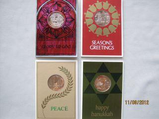 1971 Franklin Mint Christmas / Hanukkah Coin Card Set   4 Cards with