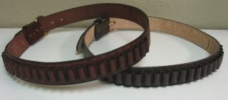 Leather 300 Rifle Ammo Shell Belt 20 or 40 Cartridge Loops Brown or