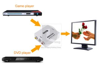 to HDMI Vdeo Converter Analog Digital +USB Cable+ Power Adapter 014647