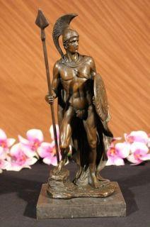 Signed Milo Roman Legion Soldier Bronze Sculpture Art Deco Figurine