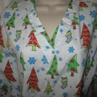 Decorated Christmas Trees Stuffed Stockings w Snowflakes Medical Scrub
