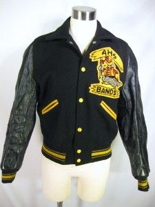 60s VARSITY black yellow wool leather BAND high school jacket college