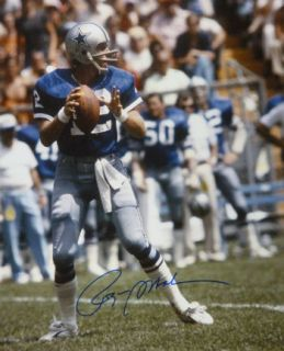 ROGER STAUBACH AUTOGRAPHED/SIGNED DALLAS COWBOYS BLUE JERSEY 16X20