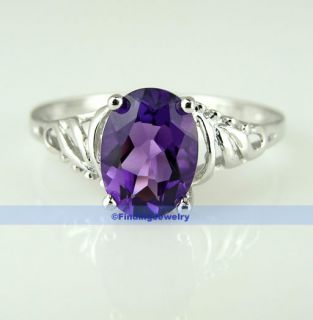 Fancy 1 2ct Oval Purple Amethyst Silver Ring Size 6 3 4 Christmas Gift