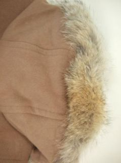 Andrew Marc New York Wool Cashmere Fur Parka Coat Jacket Womens Beige