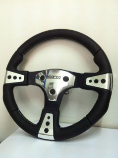 Sparco Steering Wheel Andros Leather Black with Aluminium