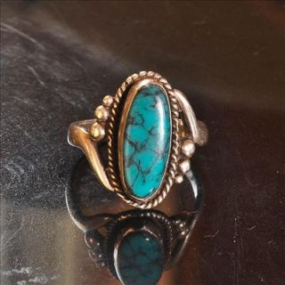 Vintage Bell Trading Co. Navajo Kingman Turquoise Sterling Silver Ring