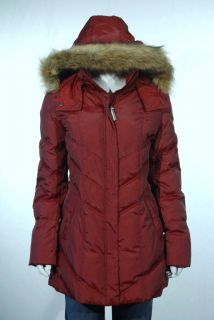 Andrew Marc New York Womens Down Faux Fur Hood Crimson Red Coat Size