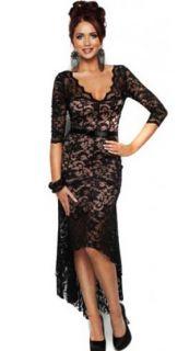 Lipsy Amy Childs Gracey Dipped Hem Black Lace Dress UK 10