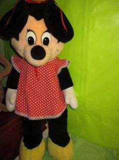 Vintage 1960s 3 Foot Tall Disney Minnie Mouse Plush Doll EUC