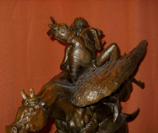 Ruggiero Angelica Hippogriffe Hippogriff Antoine Barye Bronze Statue