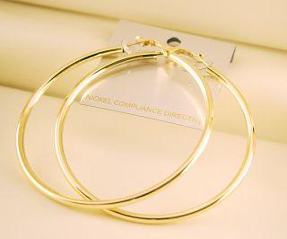 90mm Celebrity Gold Plated Huge Hoop Circle Earrings