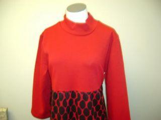 Nina Leonard Jacquard Knit Mockneck Empirewaist Dress M