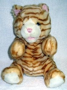 Animal Alley Cat Hand Puppet Orange Striped 10 Sitting Stuffed Plush