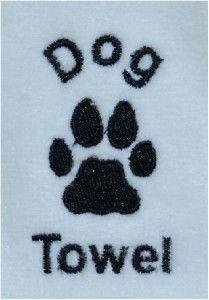 dog animal towel grommet hook embroidered paw print