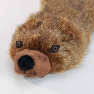 Grriggles Unstuffies Mongoose Plush Dog Toy 2 Squeaker Tug Fetch