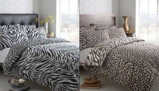 Animal Zebra Leopard Print Revsersible Duvet Cover Bed Set