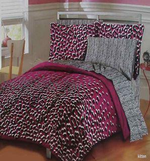 Big Kitten Animal Print Plum Black Queen Comforter Sheets 7pc Bedding