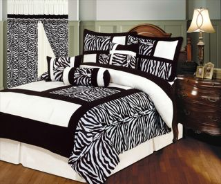 7pc Bed in A Bag Comforter Set Zebra Print Black White Squares Queen