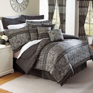 New 20pc Black and Grey Animal Print and Stripes Comforter Set Safari
