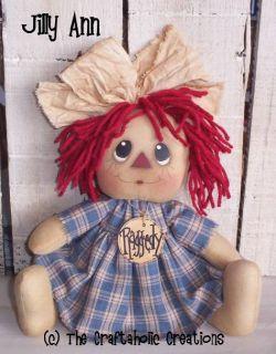 Primitive RAGGEDY ANN doll * Jilly Ann * blue homespun * sitting Annie