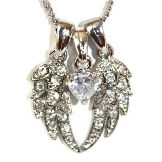 Guardian Angel Wings CZ Heart Charm Silver PL Necklace