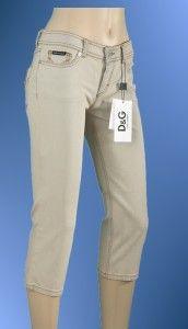 New Dolce Gabbana D G Ladies Logo Denim Cotton Capris Jeans Pants 31