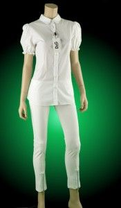 Franchi Celyn B White Stretch Cropped Zipped Capri Pants 44 10