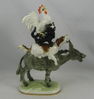 Hutschenreuther MUSICIANS OF BREMEN Donky Cat Dog Rooster Figurine
