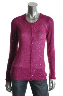 Anne Klein New Pink Sequined Long Sleeve Button Down Cardigan Sweater