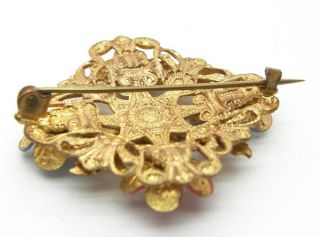 Large 1940s Vintage Enamel Paste Gilt Flower Brooch