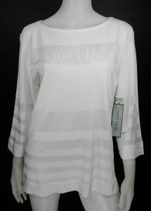 Anne Klein L Large Sweater White Boatneck Sheer Opaque Panels $195 New
