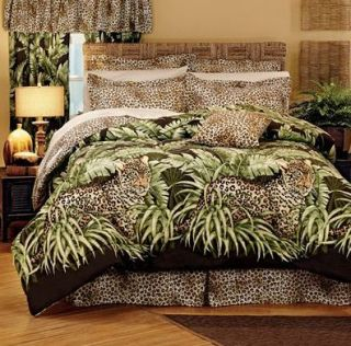 Wild Leopard Cat Jungle Animal Print Comforter Set Twin Valance