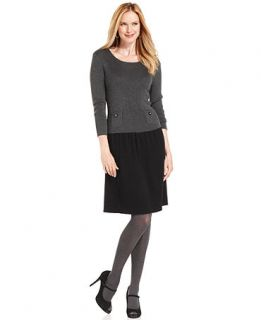 Anne Klein Dress Three Quarter Sleeve Drop Waist Sweater Dress Size