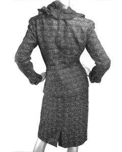 Retail $320 Anne Klein Black Silver Tweed Jacket Skirt Suit Size 8 US