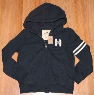 Womens Jrs Sz M Hollister Dark Blue Hooded Jacket Hoodie Hoody New w $