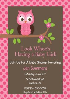 Owl Girl Baby Shower Invitation Birthday Anniversary Invites