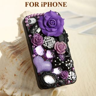 Purple Flower Elegant Anna 3D Bling Crystal Back Case Cover for iPhone