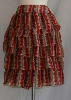Anna Sui for Anthropologie southwestern pattern tiered skirt 10 medium