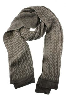 Anne Klein New Gray Wool Cable Scarf Wrap One Size BHFO