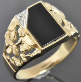 Michael Anthony Two Tone 10K Gold Onyx Diamond Rectangle Nugget Signet
