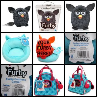 2012 Furby New in Box Black w Blue Chair and Sling Bag New with Tags