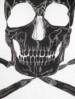 Worn by Patti Smith Eat The Rich Skull Cutlery Print T Shirt White s