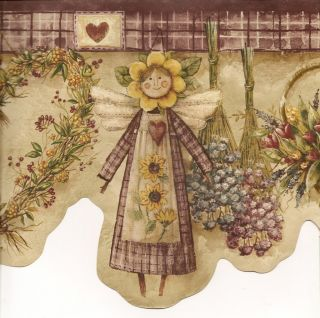 Country angel basket flower heart star candle berry herb wallpaper