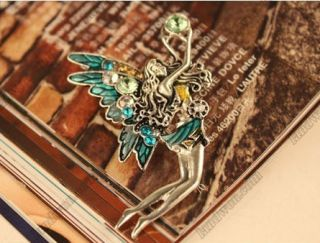 Jewelry Retro Rhinestone Angel Wings Girl Color Pin Brooch