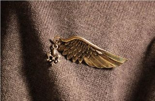 New Retro Angel Wings Pins Brooches DIY Bronze Golden