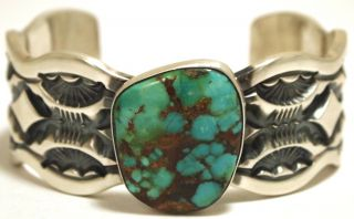 Navajo Spider Web Turquoise Sterling Silver Cuff Bracelet   Marc Antia